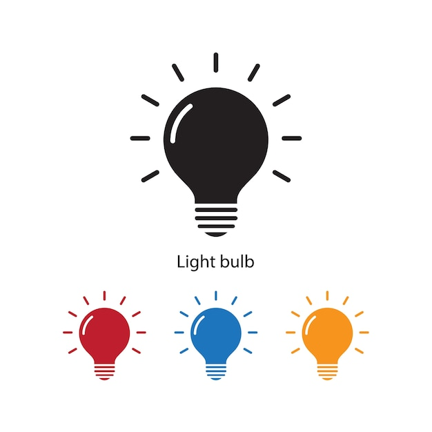 Light bulb icon on white background with different color set. Premium Vector