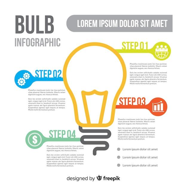Light bulb infographic Free Vector