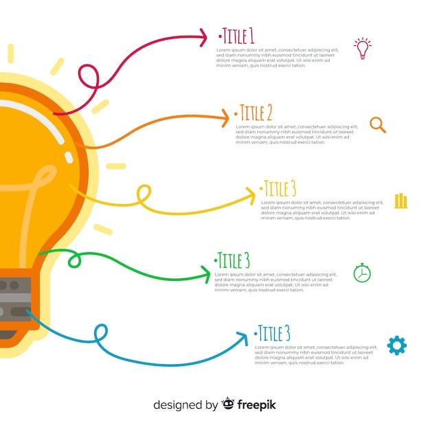 Light bulb infographics template Free Vector