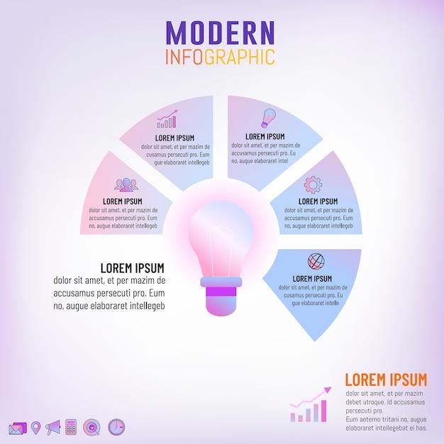Светофорочная лампа инфографического шаблона для концепции бизнес-идеи Premium векторы