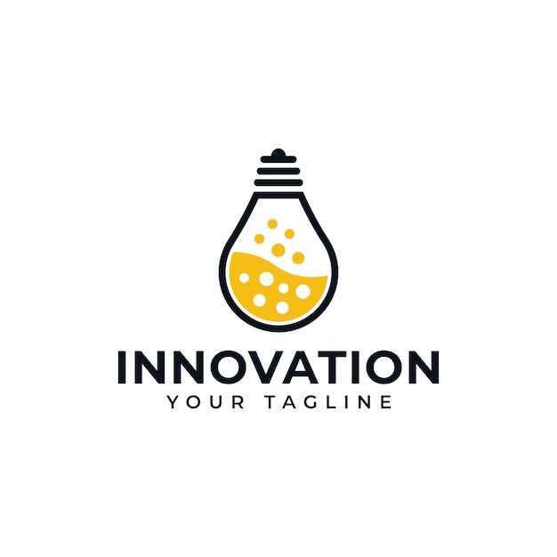 Light Bulb Lamp And Lab Science Creative Innovation Logo Design Premium Vector