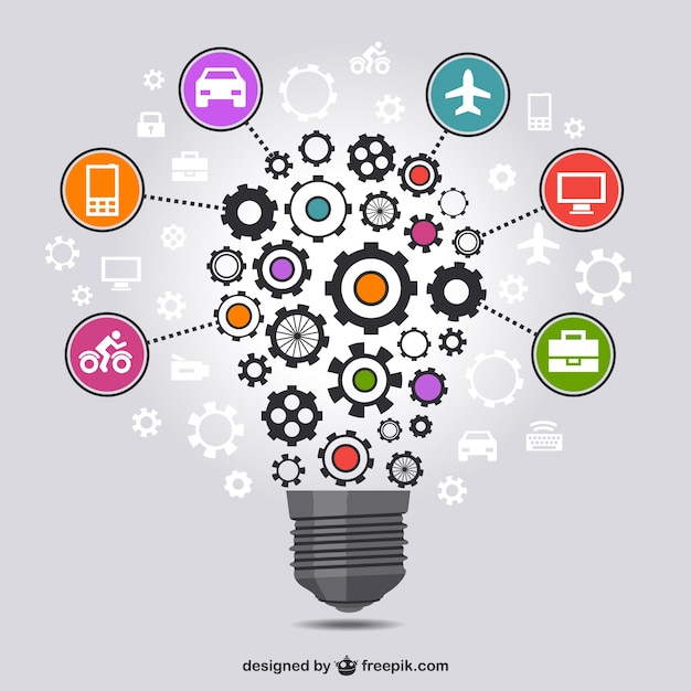 Light bulb made of gears and business icons Free Vector