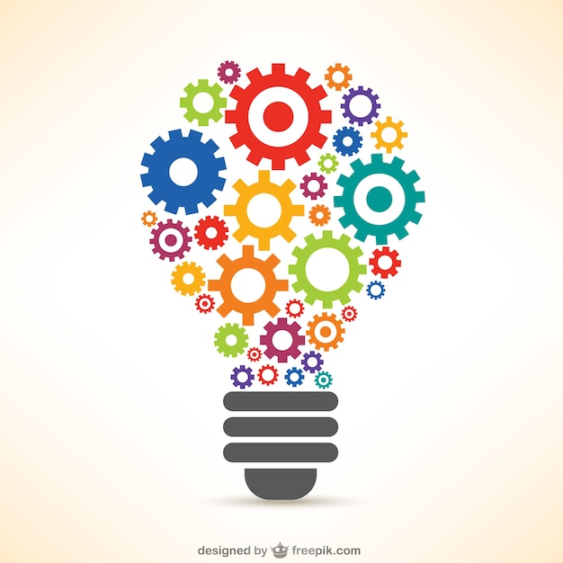 Light bulb made of gears Free Vector