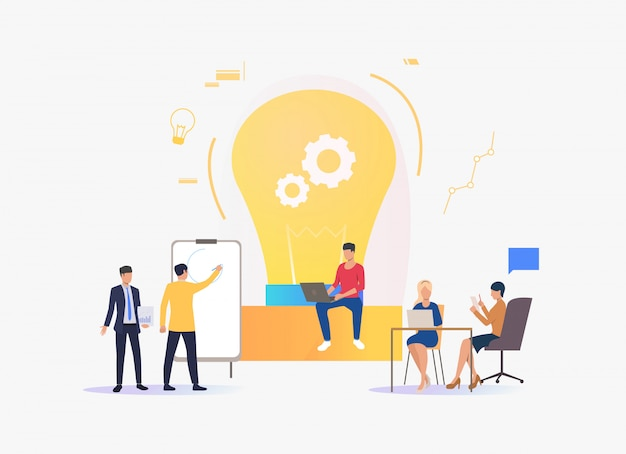 Light bulb, people discussing ideas and working Free Vector