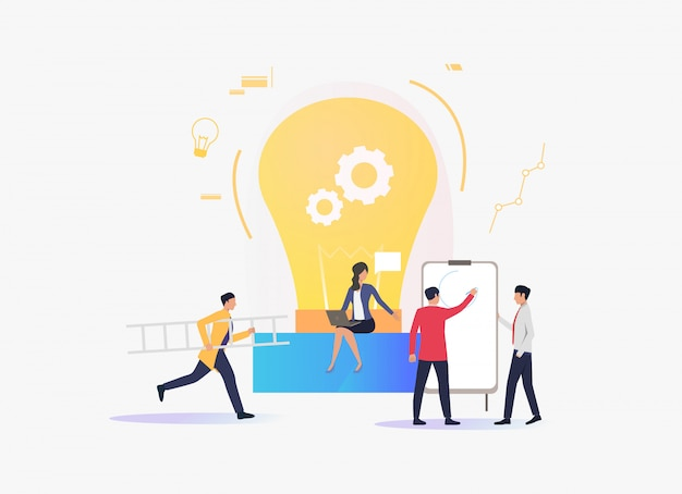 Light bulb, people working and giving lecture Free Vector