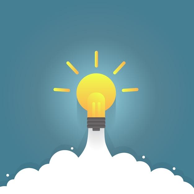 Light bulb rocket, idea boost. Premium Vector