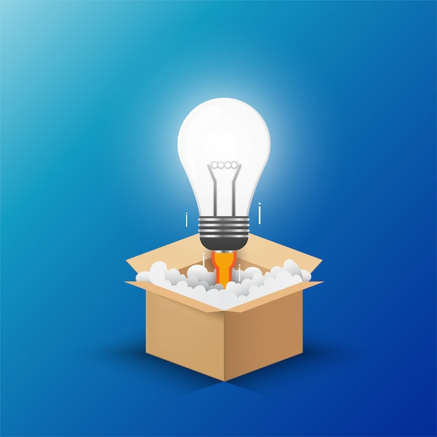 Light bulb up from the opening box. Premium Vector
