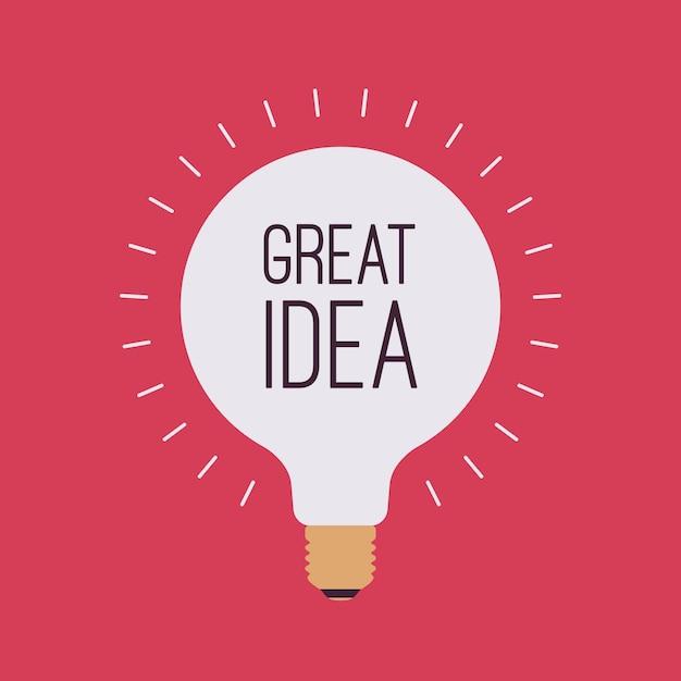 Лампочка с названием великая идея Premium векторы