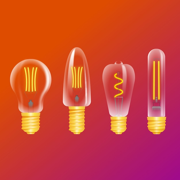 Light bulbs on gradient background Free Vector