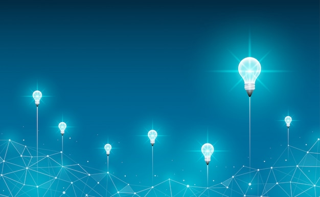 Light bulbs launch on background. geometric polygonal background. idea, business, science and technology concept Premium Vector