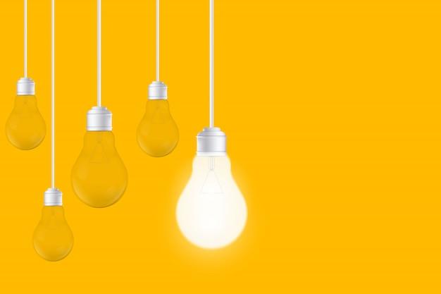 Light bulbs on yellow background, led lightbulb. Premium Vector