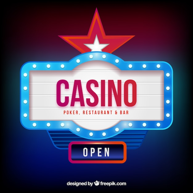 Light casino sign background Free Vector