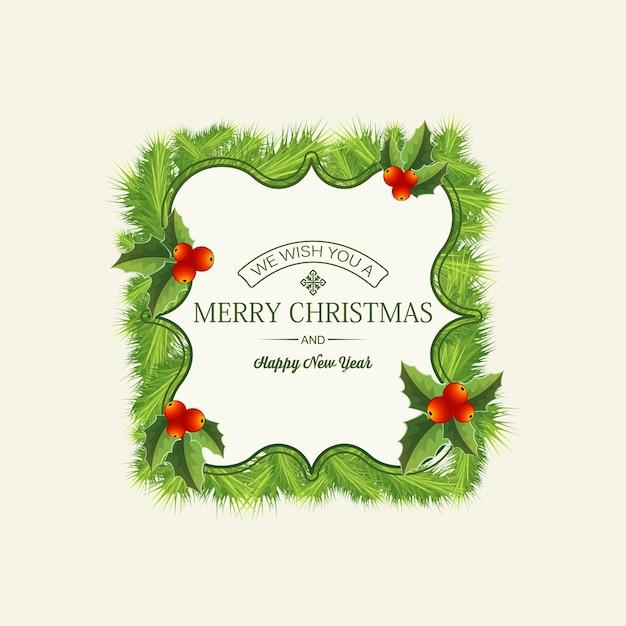 Cartolina di natale leggera con testo festivo in elegante cornice con rami di abete e bacche di agrifoglio Vettore gratuito