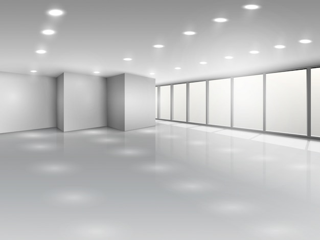 Light conference room or office open space interior Free Vector