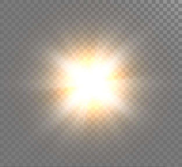 光の効果、明るい太陽、新しい星。 Premiumベクター