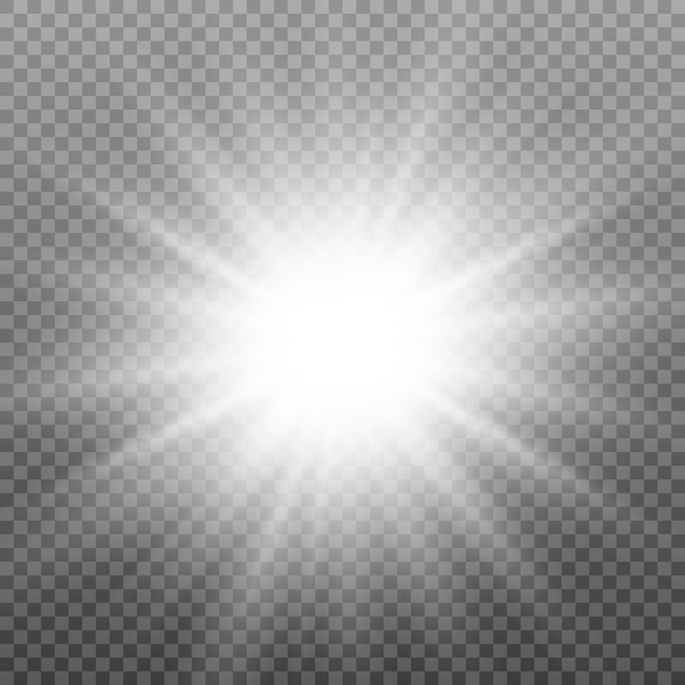Light effect. star, sparkle, sunlight. Premium Vector