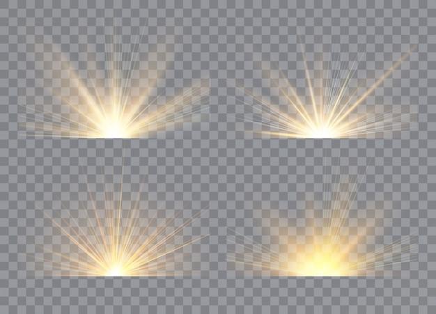 Light effect stars bursts. sunrise, dawn. transparent sunlight. concept for illustration template art design, banner for christmas, celebrate Premium Vector