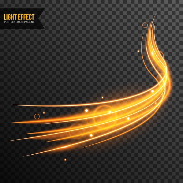 Light effect vector transparent with golden sparkles Premium Vector