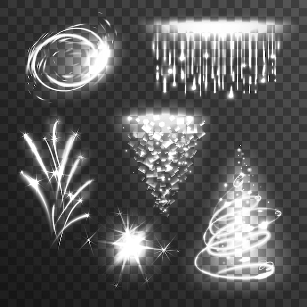 Light effects white set Free Vector