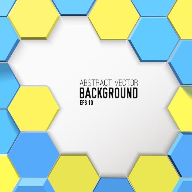 Светлый геометрический фон с желтыми и синими шестиугольниками Бесплатные векторы