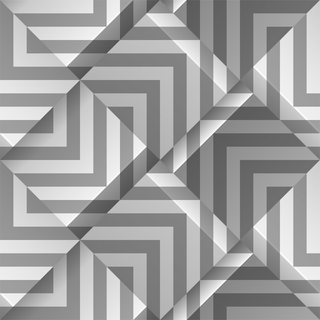 Light gray seamless geometric pattern. volume cubes with strips.  template for print , wallpapers, textile fabric, wrapping paper, backgrounds. abstract texture with volume extrude effect. Premium Vector