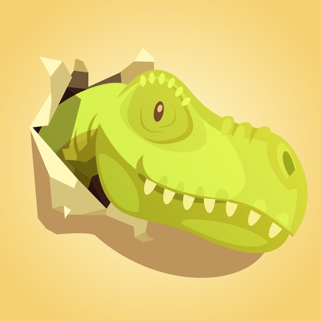 Light green dinosaurs head popping out of wrap paper hole Free Vector
