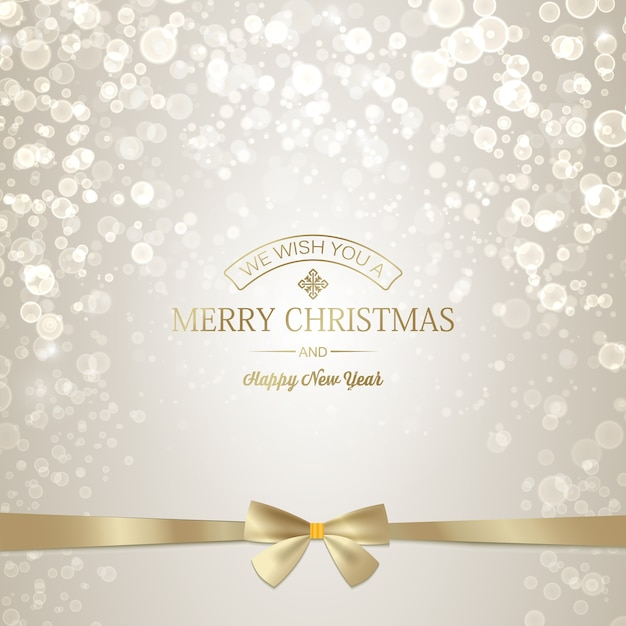 Light happy new year and christmas greeting card with golden inscription and ribbon bow Free Vector