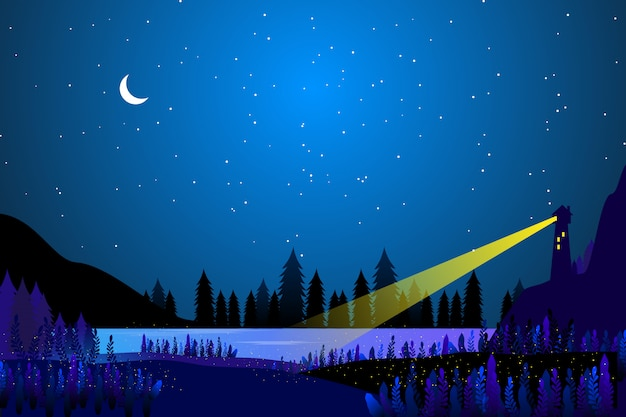 Light house with starry night Premium Vector