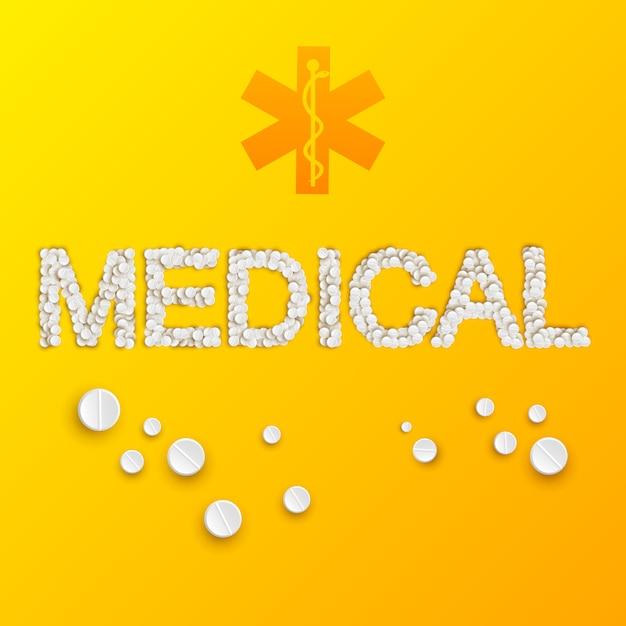 Легкий шаблон медицины с медицинской надписью из таблеток и лекарств на желтом Бесплатные векторы
