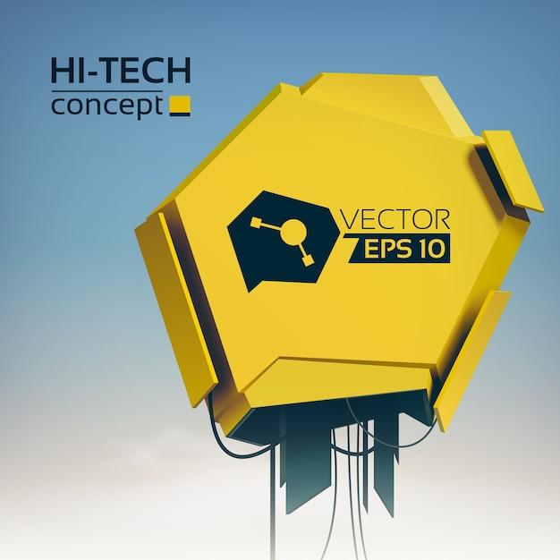 ハイテクスタイルの黄色の金属オブジェクトとライトモダンな未来的なイラスト 無料ベクター