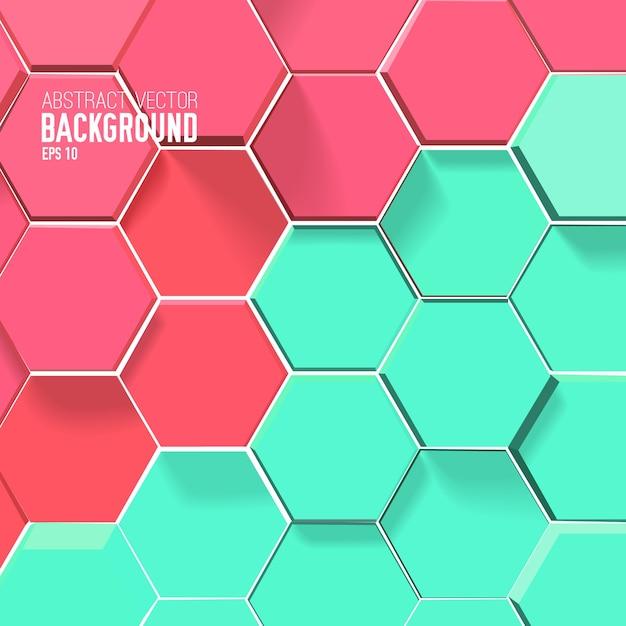 赤と緑の六角形の光のモザイクの背景 無料ベクター