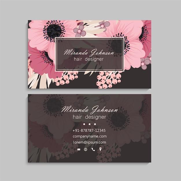 Light pink business card design Premium Vector