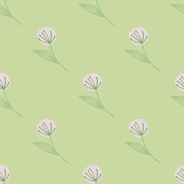Светло-розовый одуванчик на бесшовные ботанические картины. светло-зеленый фон. Premium векторы