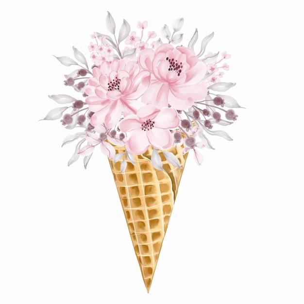 라이트 핑크 야생 꽃 꽃다발 아이스크림 콘 무료 벡터
