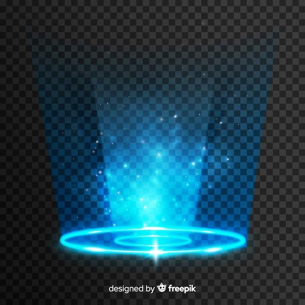 透明な背景に光のポータル効果 無料ベクター