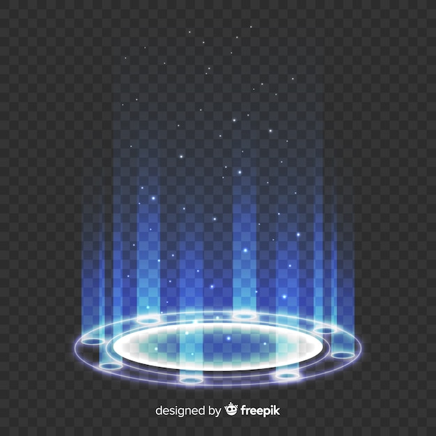 透明な背景の光ポータル 無料ベクター