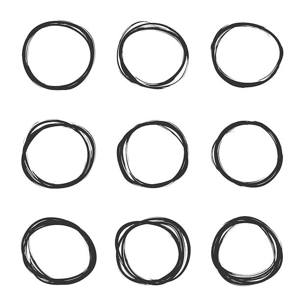 Light set of hand drawn scribble circles Premium Vector