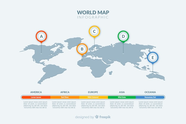 Light theme world map infographic Free Vector