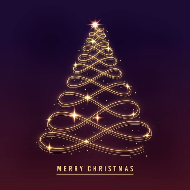 Light trail christmas tree Free Vector