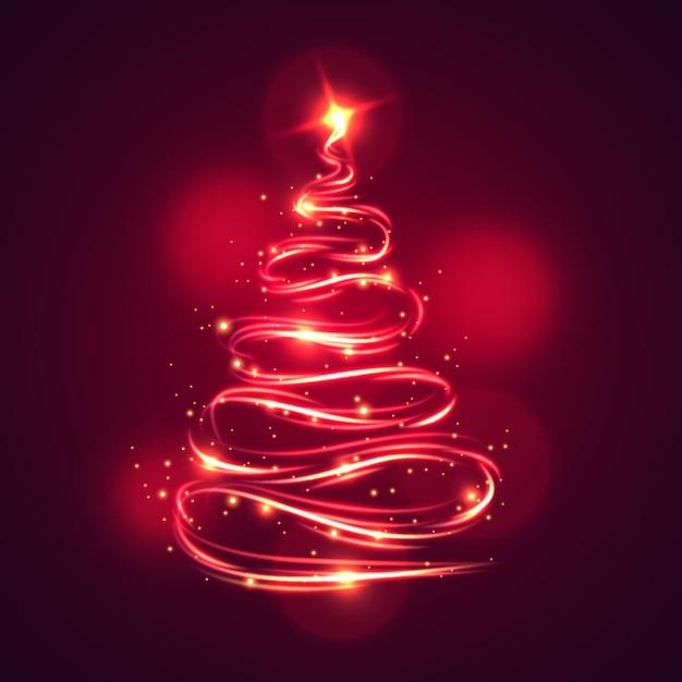 ライトトレイルのクリスマスツリー 無料ベクター