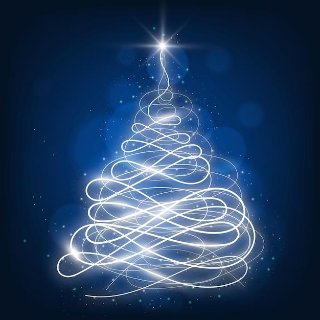 ライトトレイルのクリスマスツリー Premiumベクター