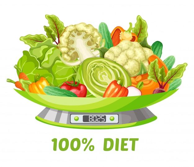 軽い野菜ダイエットのコンセプト 無料ベクター