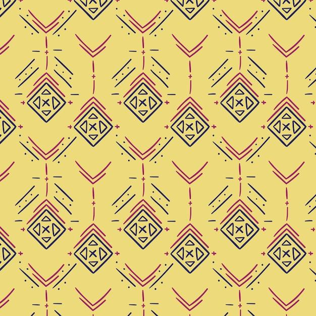 淡黄色の伝統的なソンケットパターン Premiumベクター