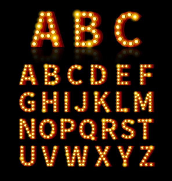 Carattere lampadina. testo e segno, lampadina luminosa, design alfabeto. Vettore gratuito