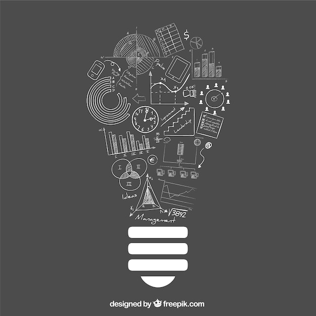 Lightbulb Idea With Doodle Business Icons Vector