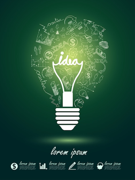 Lightbulb ideas Premium Vector
