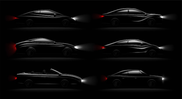 Lightened cars in darkness realistic 6 black luxury automobiles lamps lit set with cabriolet sedan hatchback Free Vector