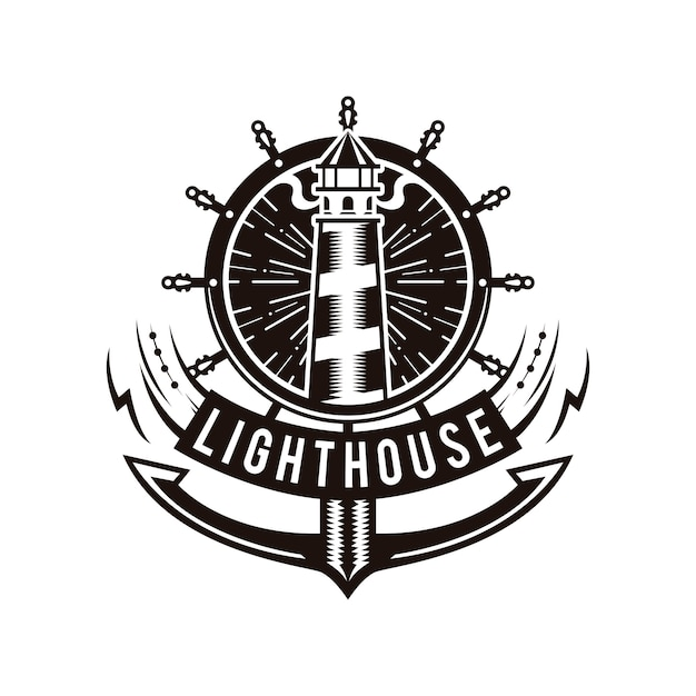 Lighthouse anchor logo Vector   Premium Download