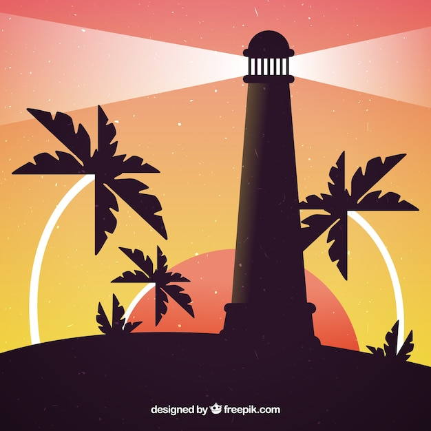 Lighthouse at sunset with palm trees\ background