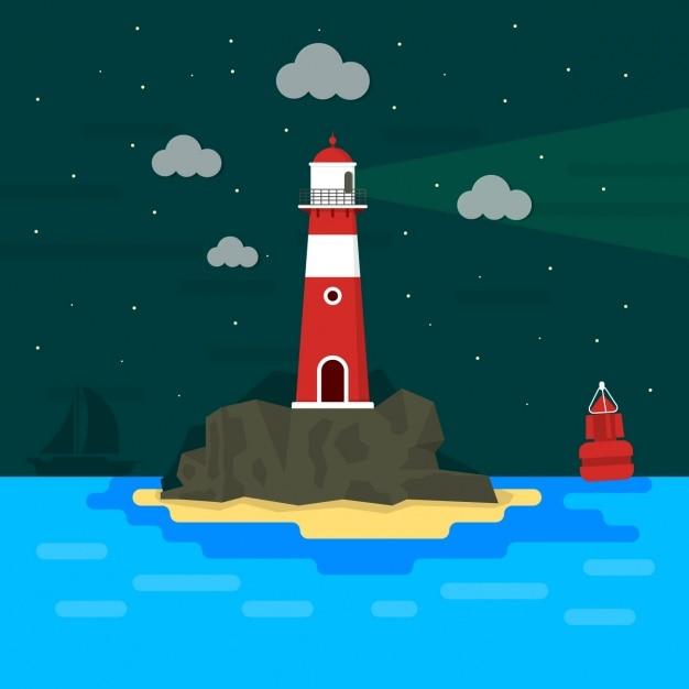 Lighthouse background design Free Vector